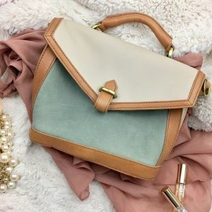 Madewell Small Leather Satchel  in Mint  EUC